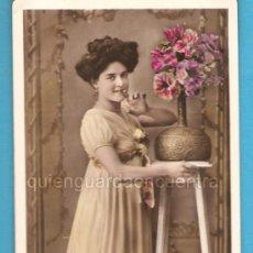 Postales: FOTO POSTAL GALANTE ROMÁNTICA ANTIGUA, ESCRITA EN CATALÁN 1910, ORICELLY PHOT UNION, Nº 108. Lote 27413847