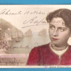 Postales: POSTAL GALANTE ROMÁNTICA ANTIGUA DE 1904, COLOREADA. ESCRITA DESDE LA CORBETA NAUTILIUS NPG 294/7. Lote 27245227