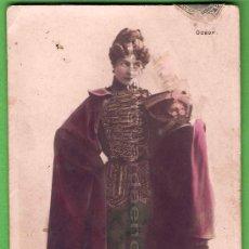 Postales: POSTAL SEÑORITA CON UNIFORME MILITAR CON PURPURINA Y COLOREADA DE NOMBRE GARRICH 1904. Lote 25292786