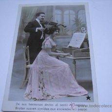 Postales: POSTAL ROMANTICA. PAREJA TOCANDO EL VIOLIN Y EL PIANO. POSTAL FOTOGRÁFICA COLOREADA.. Lote 23929436