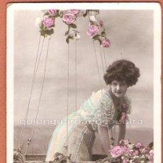 Postales: FOTO POSTAL ROMÁNTICA COLOREADA ÈTOILE VBC SERIE 3749 CIRCULADA. Lote 27297851