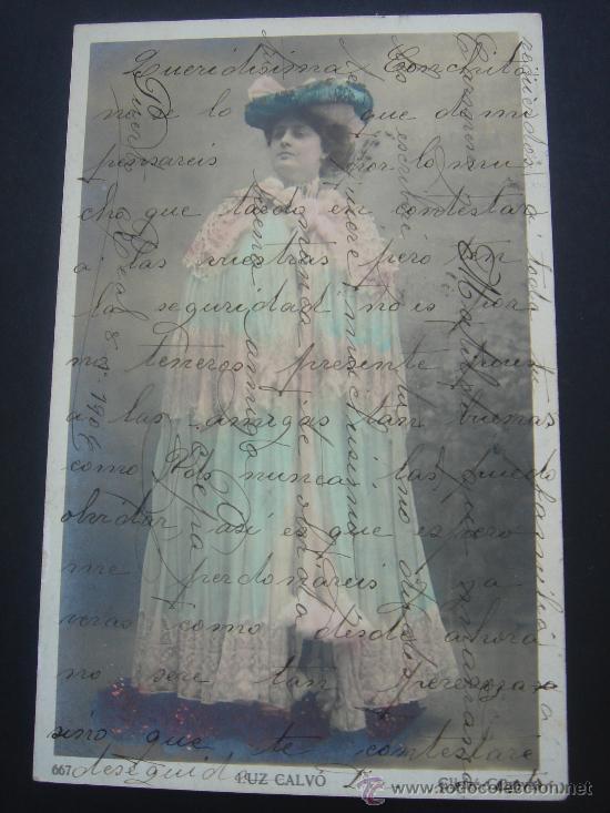 """""""LUZ CALVÓ"""". CIRCULADA, ESCRITA Y SELLO 10 CTS ALFONSO XIII (8-I-04) (Postales - Postales Temáticas - Galantes y Mujeres)"""