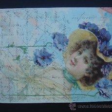 Postales: POSTAL ANTIGUA CON BONITO MOTIVO. ESCRITA, FECHADA 25-XII-1904 Y CON SELLO 10 CTS DE ALFONSO XIII.. Lote 28668156