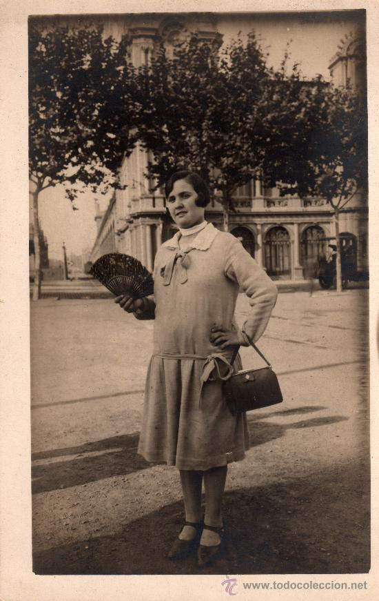 ANTIGUA POSTAL FOTOGRÁFICA DE SEÑORA CON ABANICO, NO CIRCULADA (Postales - Postales Temáticas - Galantes y Mujeres)