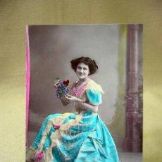 Postales: TARJETA POSTAL, FOTO POSTAL, MERCEDES SANZ, COLOREADA, UNION POSTALE, 1909. Lote 31950753