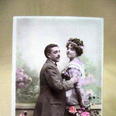 Postales: TARJETA POSTAL, FOTO POSTAL, ENAMORADOS, COLOREADA, ASTRA, 1909, UNION POSTALE,. Lote 31951491