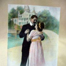 Postales: TARJETA POSTAL, FOTO POSTAL, ENAMORADOS, COLOREADA, VETA DORADA, 1914. Lote 31951770