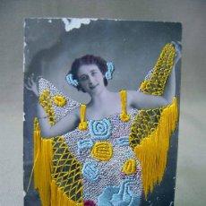 Postales: TARJETA POSTAL, FOTO POSTAL, MUJER, VALENCIA, COLOREADA, HILO, RELIEVE, 1909. Lote 31956277