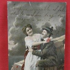Postales: FOTO TARJETA COLOREADA PAREJA ENAMORADOS ESCRITA CIRCA 1910. Lote 32071694