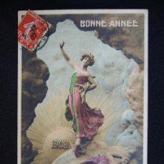 Postales: POSTAL ROMÁNTICA. MUJER. BONNE ANÉE. 1907-1908.. Lote 32382745