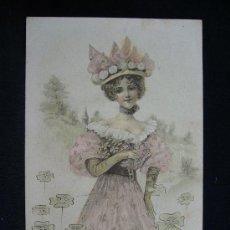 Postales: POSTAL ROMÁNTICA. MUJER PASEANDO. AÑO 1903.. Lote 32620406