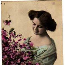 Postales: POSTAL FOTOGRÁFICA COLOREADA JOVEN. CIRCULADA 1913.. Lote 32701788