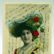 Postales: POSTAL ARTISTA JANCSÓ VALERIA COLOREADA PURPURINA 1042/4 PP S XX ESCRITA 1904 SIN DIVIDIR. Lote 33481114