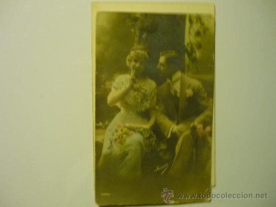 POSTAL PAREJA ENAMORADOS.- ESCRITA CON FECHA 1912 COLOR. (Postales - Postales Temáticas - Galantes y Mujeres)