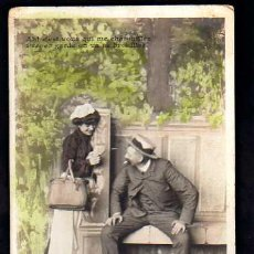 Postales: POSTAL FOTOGRÁFOCA COLOREADA. ROMÁNTICA. CIRCULADA EN 1914. Lote 34150111