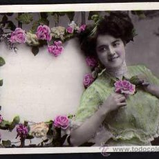 Postales: POSTAL FOTGGRAFICA COLOREADA. JOVEN. CIRCULADA 1909. Lote 34453994