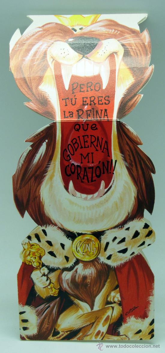 Postales: Postal troquelada desplegable romántica león rey selva Ed CYZ 1972 - Foto 2 - 34812108