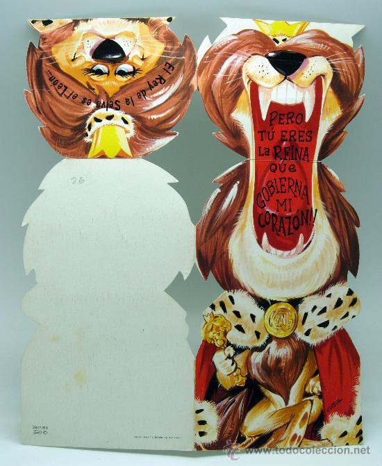 Postales: Postal troquelada desplegable romántica león rey selva Ed CYZ 1972 - Foto 3 - 34812108