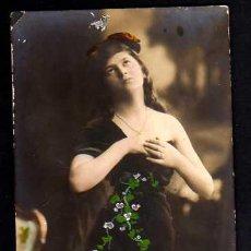 Postales: POSTAL COLOREADA. JOVEN . CIRCULADA 1910.. Lote 34896363