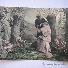 Postales: TRASMIERA,POSTAL ANTIGUA,PAREJA DE NOVIOS,ESCRITA,AÑO 1907. Lote 35057202