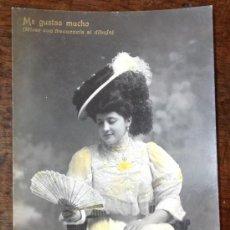Postales: CONCHITA ORIA. EL LENGUAJE DEL ABANICO. (ME GUSTAS MUCHO). CUPLETISTA. (AUDOUARD. LB, LUIS BARTRINA). Lote 36113047