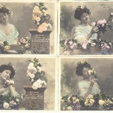Postales: PS3743 'LE ROMAN DE LA ROSE'. SERIE DE 5 POSTALES FOTOGRÁFICAS COLOREADAS. NITRAM. PRINC. S. XX. Lote 36331766
