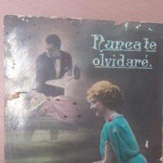 Postales: ANTIGUA POSTAL ROMANTICA NUNCA TE OLVIDARE LOS BEATOS CARTAGENA MURCIA 1923. Lote 37549581