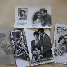 Postales: LOTE DE 5 POSTALES ROMÁNTICAS ANTIGUAS. . Lote 39009505