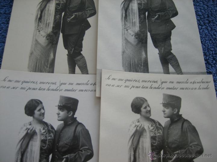 POSTAL ANTIGUA: PAREJA ENAMORADOS .- MARGARA. .- LOTE DE 4 UNIDADES (Postales - Postales Temáticas - Galantes y Mujeres)