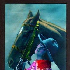 Postales: ANTIGUA POSTAL FOTOGRÁFICA COLOREADA JOVEN CON CABALLO. CIRCULADA 1925 . Lote 40066765