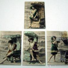 Postales: 4 POSTALES ALEMANAS COLOREADAS 4 POSES SERIE BAÑISTA PLAYA 0114 CIRCULADAS DESDE MÉXICO SELLOS 1910. Lote 42453720