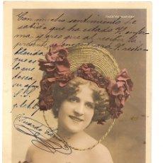 Postales: POSTAL CIRCULADA EN ESPAÑA AÑO 1903 DE MINNIE CULHAM DEL THÉATRE MARIGNY - EDITADA EN PARIS. Lote 43044341