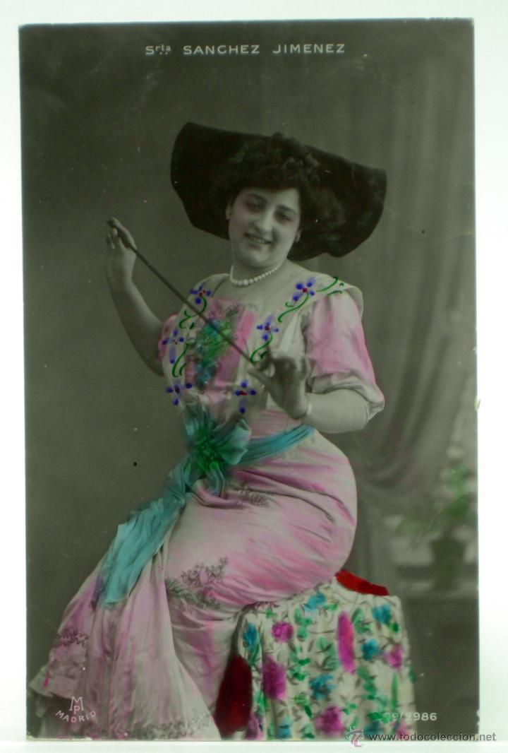 POSTAL ARTISTA ÉPOCA SRTA SÁNCHEZ JIMÉNEZ POSTALES MADRID 209/2986 COLOREADA PP S XX ESCRITA 1909 (Postales - Postales Temáticas - Galantes y Mujeres)