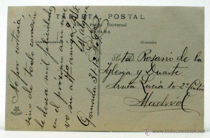 Postales: Postal artista época Srta Sánchez Jiménez Postales Madrid 209/2986 coloreada PP s XX escrita 1909 - Foto 2 - 43200280