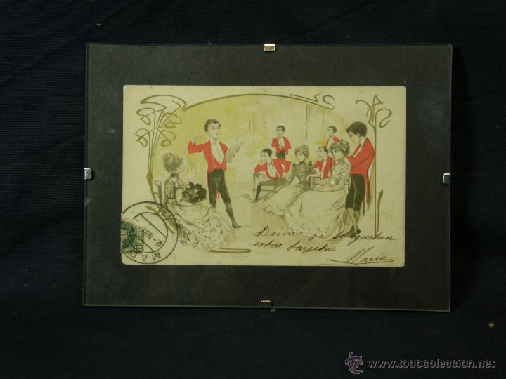 POSTAL ENMARCADA CIRCULADA 2 MAYO 1902 MATASELLOS GIJÓN COLOREADA SEÑORES CHAQUE ROJO Y DAMAS (Postales - Postales Temáticas - Galantes y Mujeres)