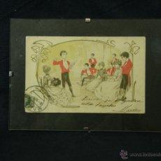Postales: POSTAL ENMARCADA CIRCULADA 2 MAYO 1902 MATASELLOS GIJÓN COLOREADA SEÑORES CHAQUE ROJO Y DAMAS. Lote 43394032