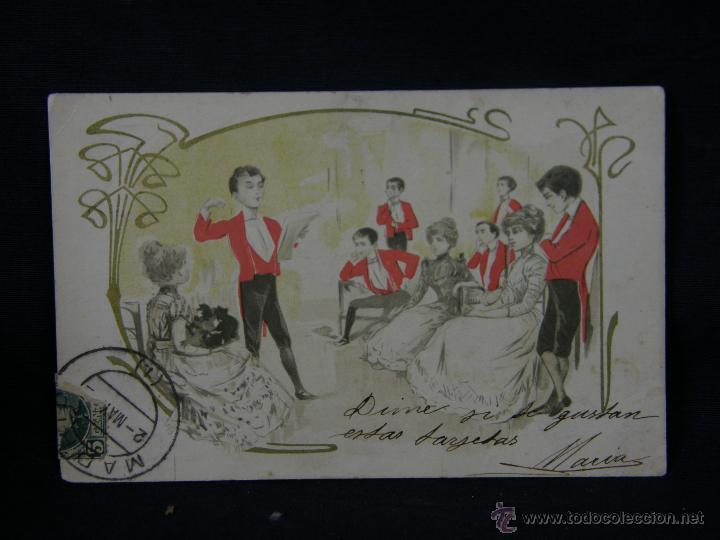 Postales: postal enmarcada circulada 2 mayo 1902 matasellos Gijón coloreada señores chaque rojo y damas - Foto 2 - 43394032