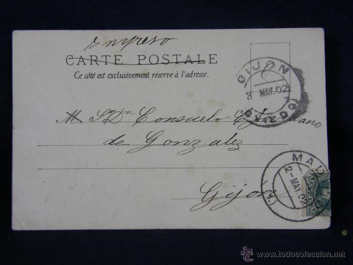 Postales: postal enmarcada circulada 2 mayo 1902 matasellos Gijón coloreada señores chaque rojo y damas - Foto 3 - 43394032