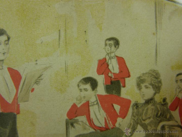 Postales: postal enmarcada circulada 2 mayo 1902 matasellos Gijón coloreada señores chaque rojo y damas - Foto 5 - 43394032