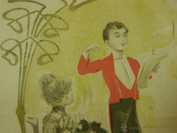 Postales: postal enmarcada circulada 2 mayo 1902 matasellos Gijón coloreada señores chaque rojo y damas - Foto 6 - 43394032
