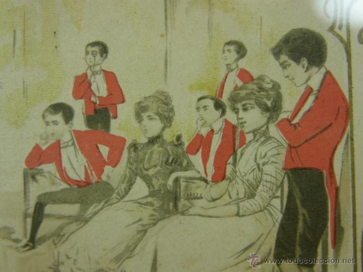 Postales: postal enmarcada circulada 2 mayo 1902 matasellos Gijón coloreada señores chaque rojo y damas - Foto 7 - 43394032
