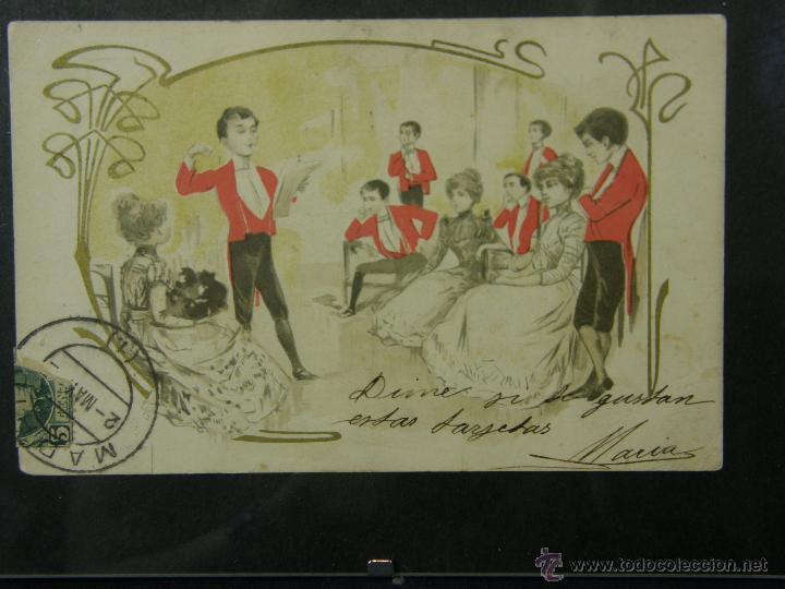 Postales: postal enmarcada circulada 2 mayo 1902 matasellos Gijón coloreada señores chaque rojo y damas - Foto 9 - 43394032