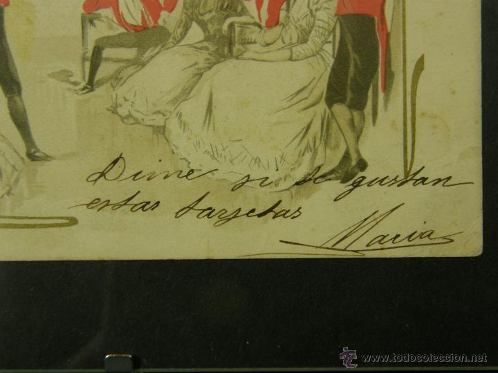 Postales: postal enmarcada circulada 2 mayo 1902 matasellos Gijón coloreada señores chaque rojo y damas - Foto 10 - 43394032