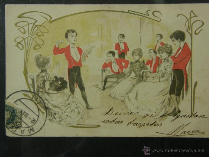 Postales: postal enmarcada circulada 2 mayo 1902 matasellos Gijón coloreada señores chaque rojo y damas - Foto 11 - 43394032