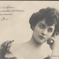 Postales: SEÑORITA PENSATIVA. POSTAL FRANCESA, BLANCO Y NEGRO, CIRCULADA C. 1904. Lote 45113974