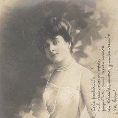 Postales: MUJER ELEGANTE. POSTAL ÉPOCA, BLANCO Y NEGRO, CIRCULADA C. 1905. Lote 45114007