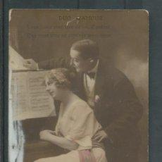 Postales: POSTAL FRANCESA DE PAREJA EN EL PIANO ESCRITA AÑOS 20 - 30. Lote 45716960