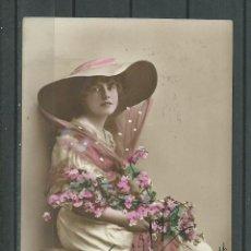 Postales: FOTO POSTAL ANTIGUA DE - UNA DAMA - CIRCULADA EL 31 - 12- 1916 FALTA SELLO . Lote 46704157