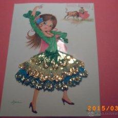 Postales: POSTAL BORDADA - JOVEN BAILADORA - FIRMA ASUN - 7872 B - . Lote 48460316