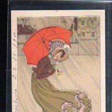 Postales: TARJETA POSTAL DE GALANTES Y MUJERES - MUJER CON PARAGUAS. 1900. VER DORSO. Lote 48711034